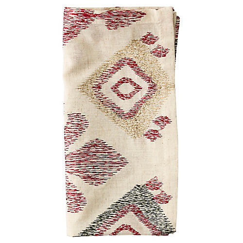 S/4 Marrakech Dinner Napkins, Natural/Red
