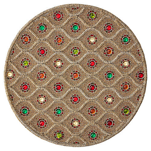 S/4 Brocade Place Mats, Gold/Multi