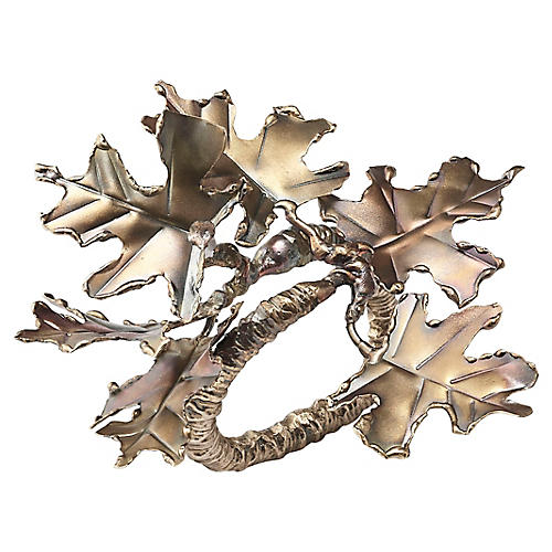 S/4 Foliage Napkin Rings, Gold