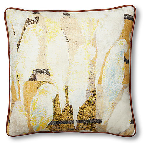 Betsy 19x19 Pillow, Yellow/Ivory Linen