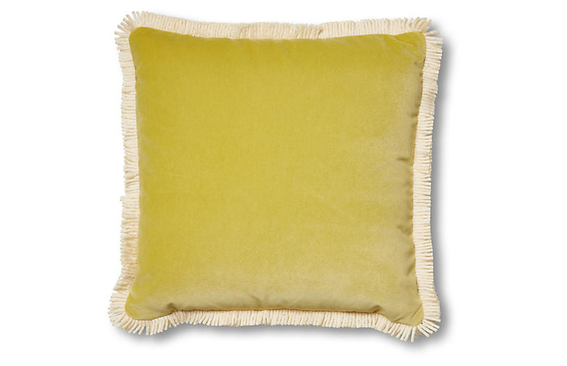Kitty 19x19 Pillow, Chartreuse Velvet