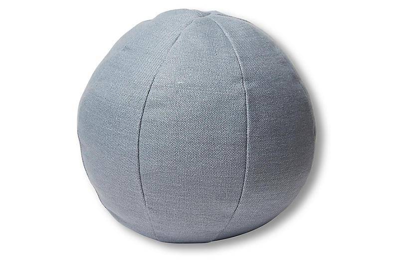 Emma 11x11 Ball Pillow, Smoky Blue Linen