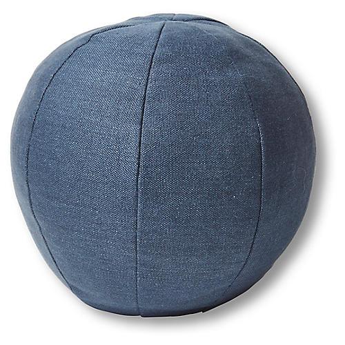 Emma 11x11 Ball Pillow, Navy Linen