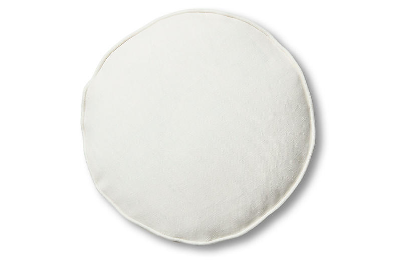 Claire 16x16 Disc Pillow, White Linen