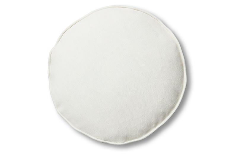 Claire 16x16 Disc Pillow, White Linen