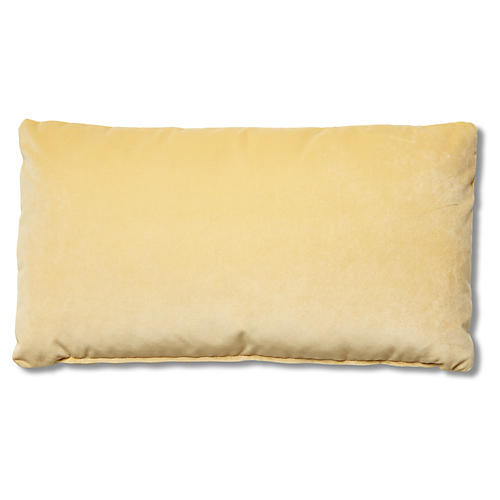 Ada Long Lumbar Pillow, Canary Velvet