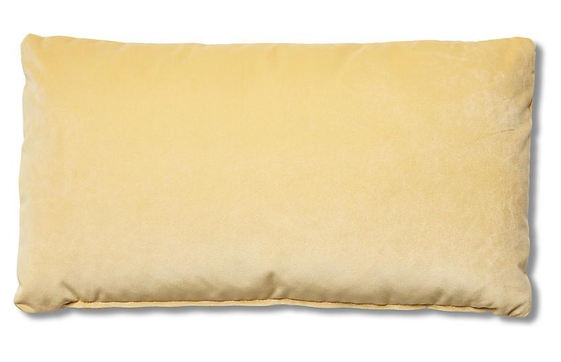 Ada Long Lumbar Pillow, Canary Velvet