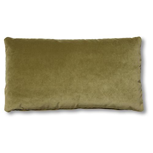 Ada Long Lumbar Pillow, Moss Velvet