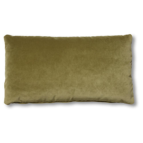 Ada Long Lumbar Pillow, Moss Velvet