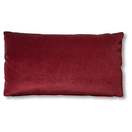 Ada Long Lumbar Pillow, Currant Velvet