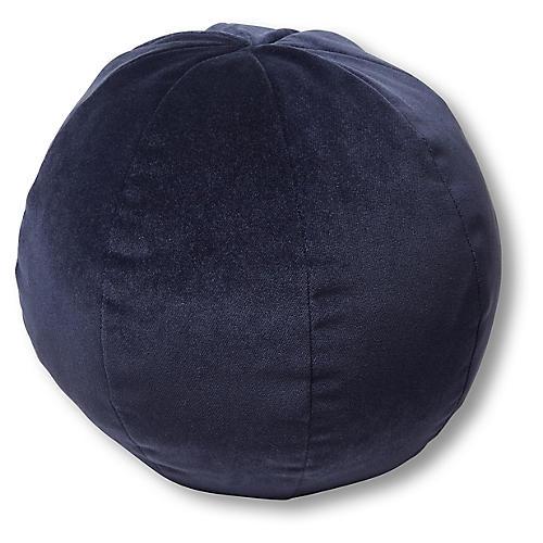 Emma 11x11 Ball Pillow, Navy Velvet