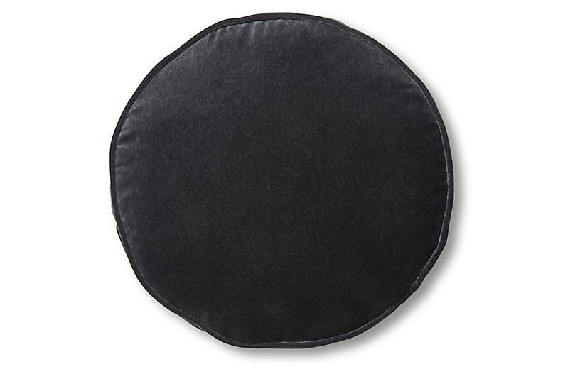 Claire 16x16 Disc Pillow, Ebony Velvet
