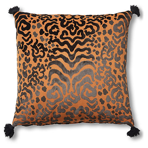 Tiger 26x26 Floor Pillow, Black/Gold