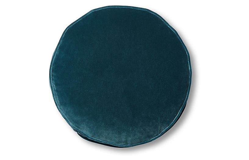 Claire 16x16 Disc Pillow, Teal Velvet
