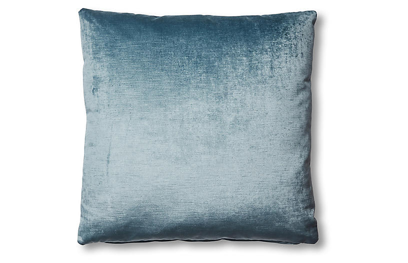 Hazel Pillow, Denim Blue Velvet