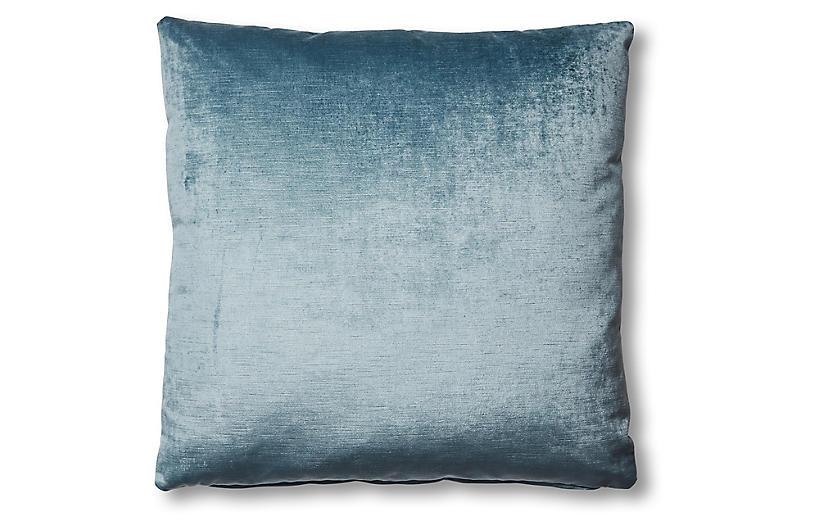 Hazel Pillow, Denim Blue Velvet