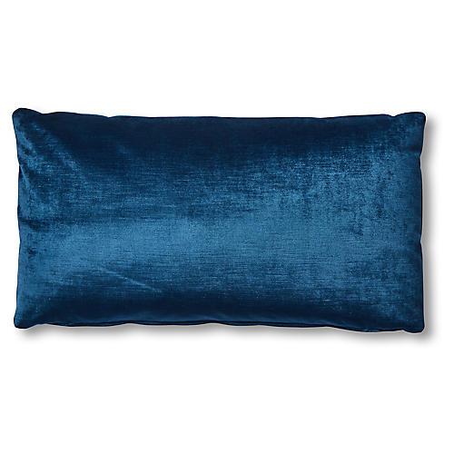 Ada Long Lumbar Pillow, Prussian Blue Velvet