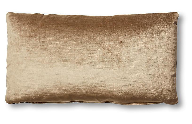 Ada Long Lumbar Pillow, Putty Velvet