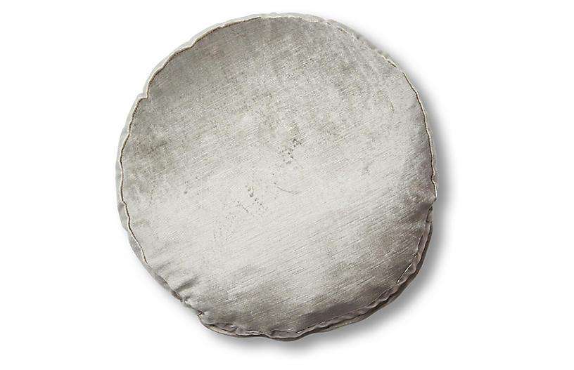 Claire 16x16 Disc Pillow, Silver-Gray Velvet