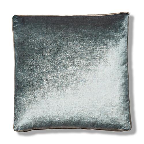 Hannah 19x19 Box Pillow, Stone Blue/Cream Velvet