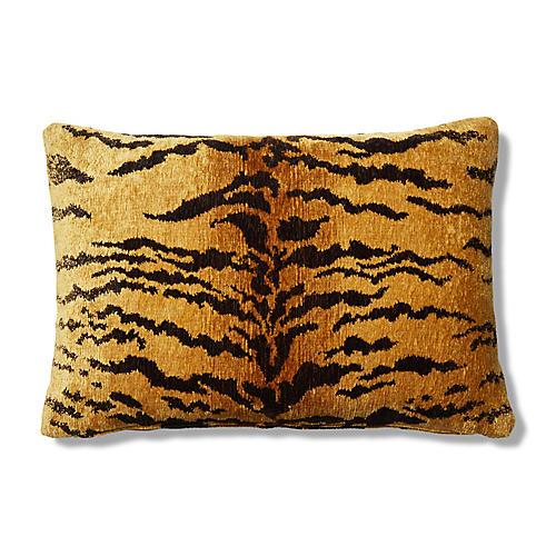 Alfie 15x23 Lumbar Pillow, Tiger Chenille