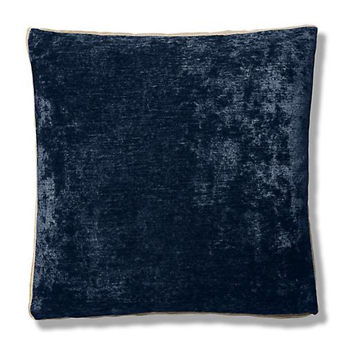 Hannah 22x22 Box Pillow, Indigo/Cream Velvet