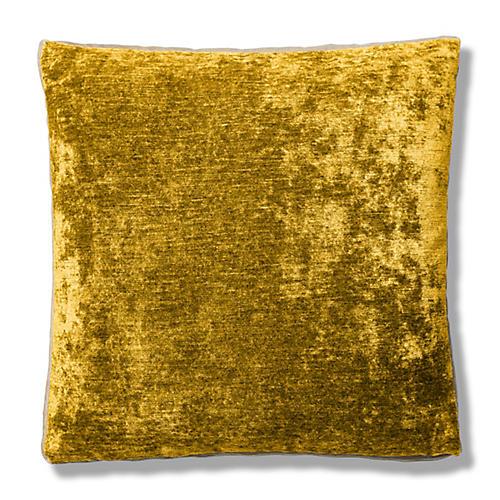 Hannah 22x22 Box Pillow, Gold/Cream Velvet