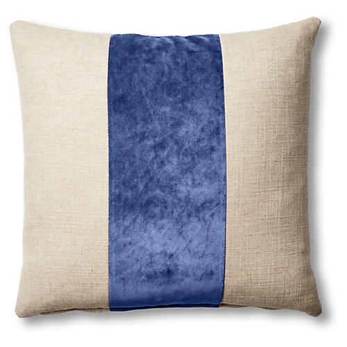 Blakely 19x19 Pillow, Natural/Cobalt
