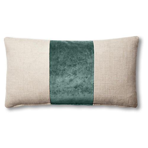 Blakely 12x23 Lumbar Pillow, Natural/Jade