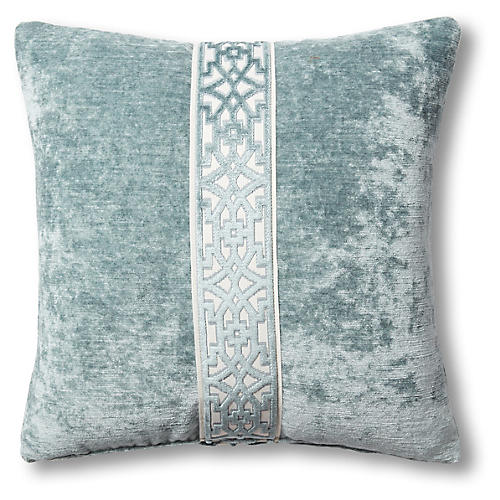 Kyra 19x19 Pillow, Blue Velvet