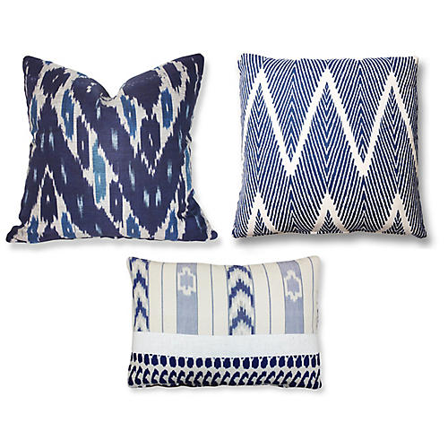 Lulu Pillow Bundle, Ikat Indigo/White