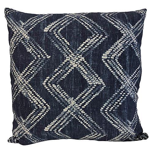 Aislinn 20x20 Pillow, Indigo/White