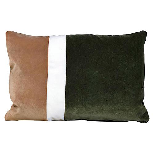Elsa 14x20 Lumbar Pillow, Olive/Latte Velvet