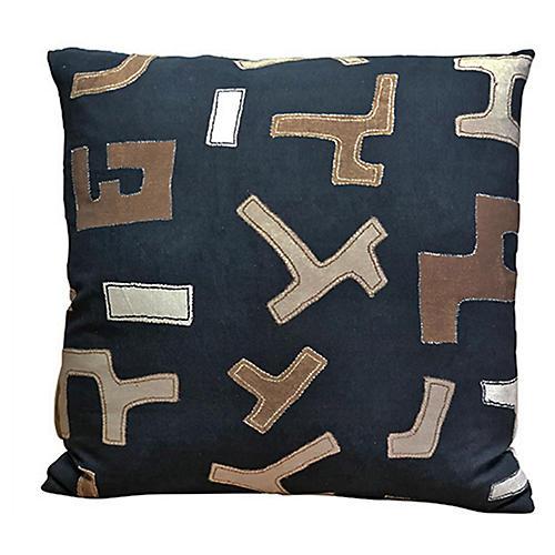 Nakia 24x24 Pillow, Ebony/Multi