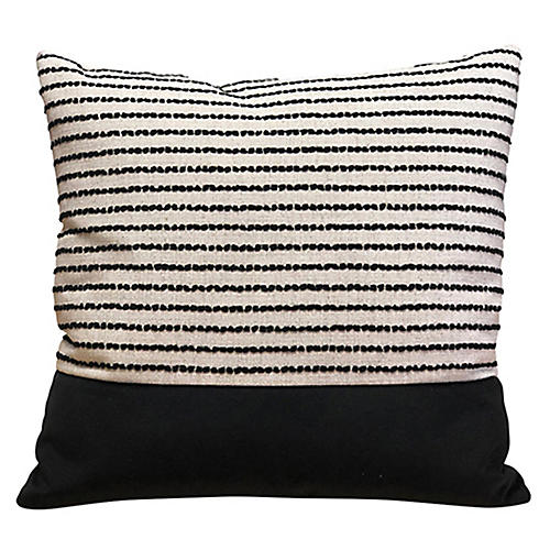 Megan 20x20 Pillow, Black Stripe