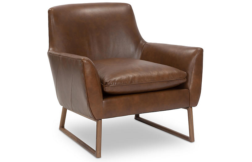 Nash Accent Chair, Pecan Leather