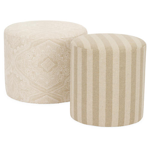 S/2 Simone Stacking Stools, Ivory/Natural