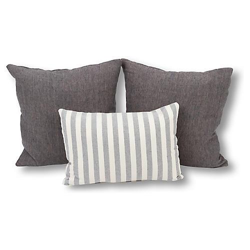 S/3 Celeste Pillow Bundle, Blue/Ivory