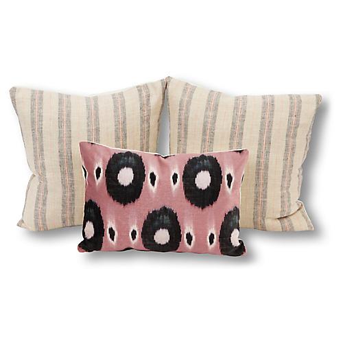 S/3 Blair Pillow Bundle, Blush/Gray