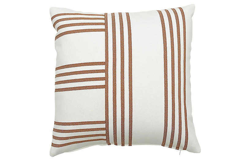 Further 20x20 Outdoor Pillow, Butterscotch/Ivory