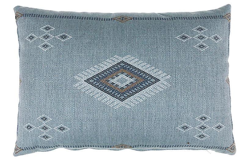 Sophia 14x20 Outdoor Pillow, Light Blue Sunbrella