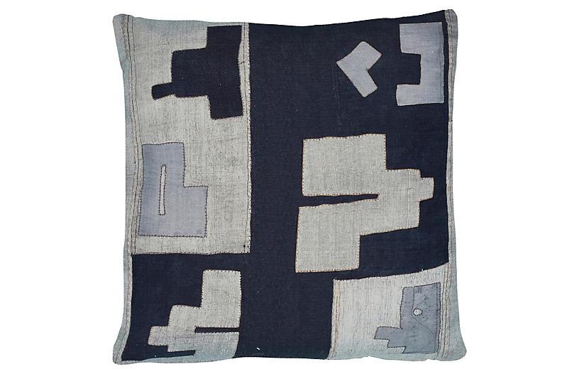 Arlo 21x21 Outdoor Pillow, Indigo/Gray