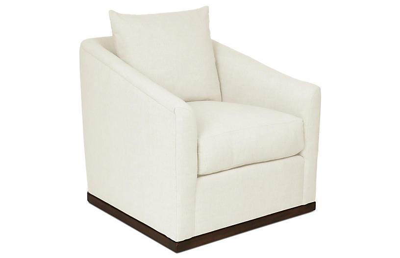 Ryder Swivel Chair, White Crypton