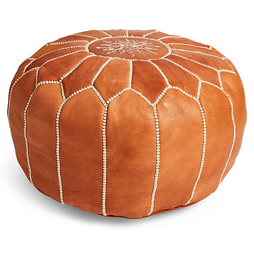 Moroccan Leather Pouf, Caramel