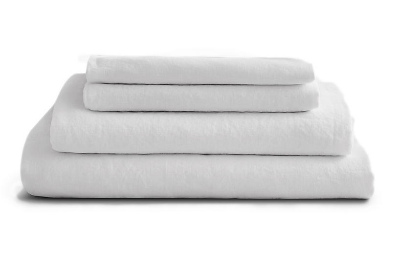 French Linen Sheet Set, Snow