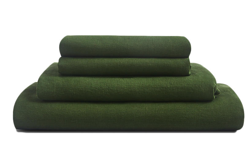 French Linen Sheet Set, Forest