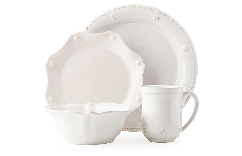 4-Pc Berry & Thread Place Setting, Whitewash