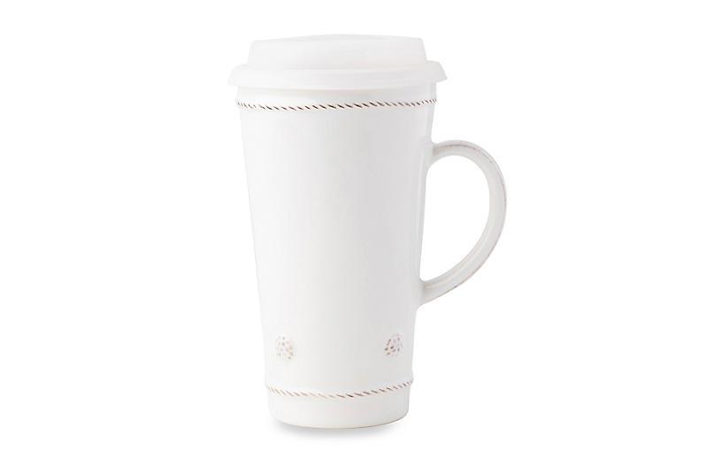 Berry & Thread Travel Mug, Whitewash