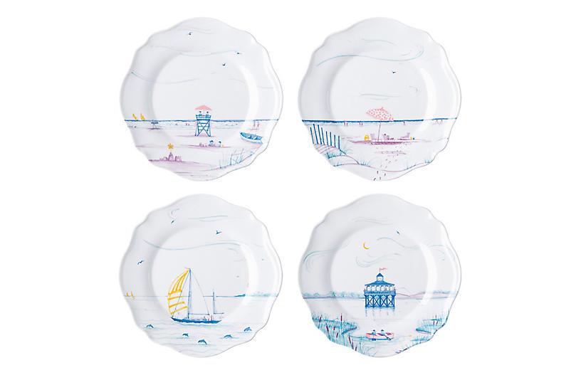 Asst. of 4 Country Estate Seaside Melamine Plates