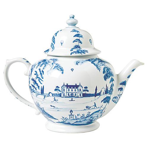 Country Estate Teapot, White/Blue